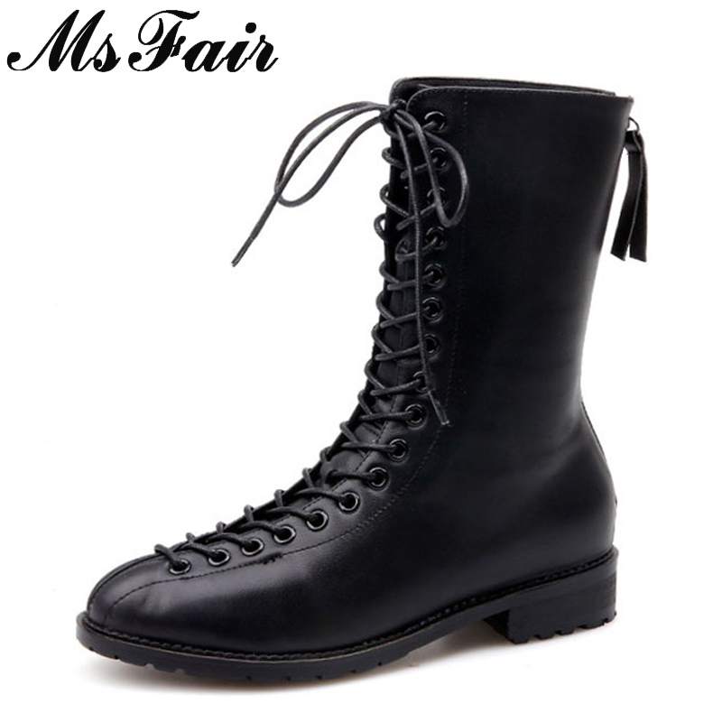 MSFAIR Lace Up Low Heel Women Mid Calf Boots Fashion Mature Concise Square heel Boot Women Shoes Brand Boots Women 2018 Nouveau laconic women s mid calf boots with lace up and chunky heel design