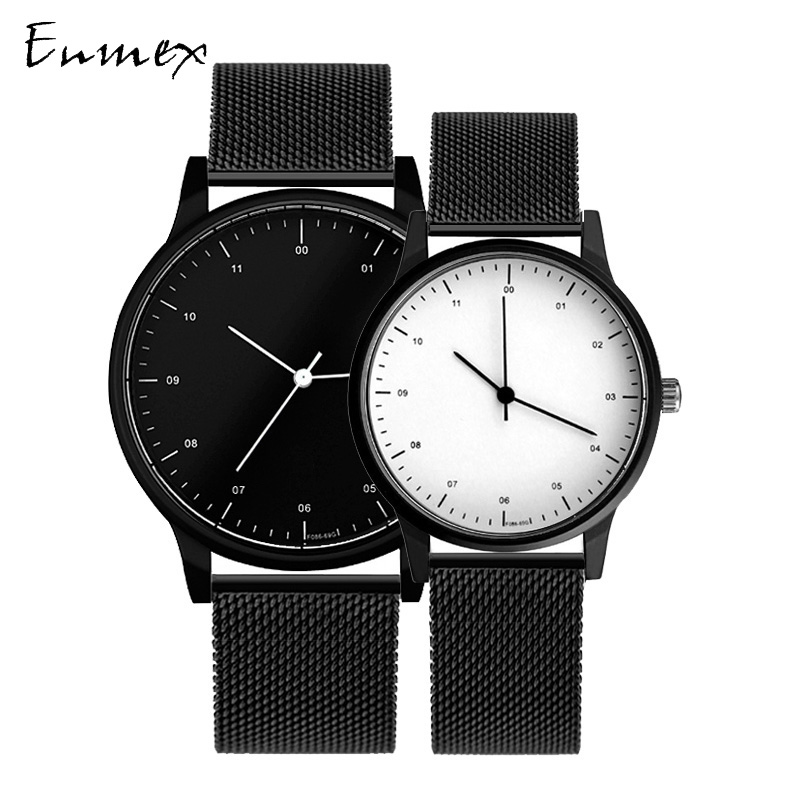 Gift Enmex Cool Couple Watch Wristwatch Brief Vogue Simple Stylish Stainless Steel Band Casual Quartz  Fashion Lover's Watch