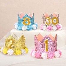 Fiesta de cumpleaños de bebé del sombrero de los niños Diadema con niños  niñas padico flor corona diadema E2S 1d90003b7c2