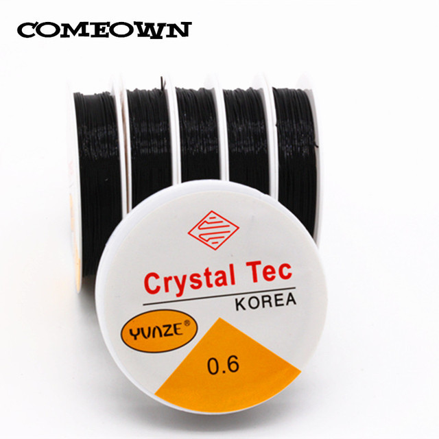 COMEOWN 0.6MM 10Rolls Spool of Black Crystal Stretch Elastic Beading Wire/Cord/String/Thread for DIY Necklace Bracelet