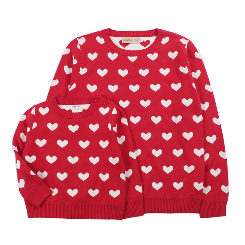 2019 Parent-child Outfits Cute Love Family Look Sweaters Family Matching Outfits Mother Kids Girls Boys Knit Sweater