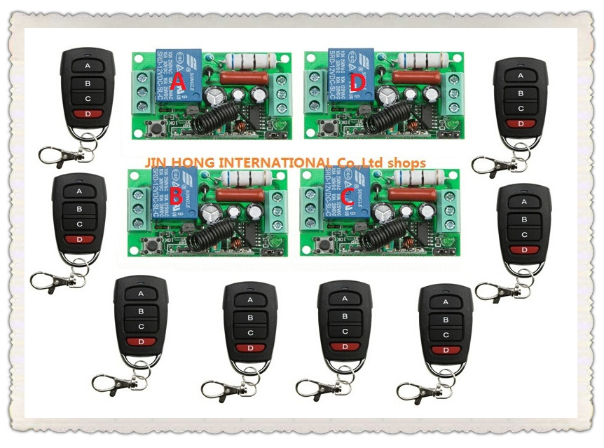 AC220V 1CH 10A wireless remote control switch system teleswitch 8X Transmitter + 4X Receiver relay smart house z-wave JRL-220V-1 tcg085wv1ac g04 8 5 inch lcd display screen 800x480 lcd panel industrial lcd used