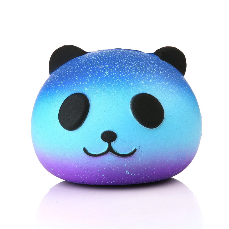 Squeeze Toys PU Slow Rebound Star Colored Panda Head Soft Key Slow Rebound Anti Stress Squishi Toys For Children