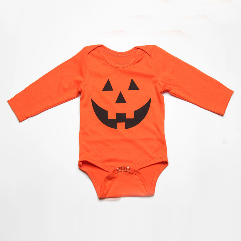 Baby Halloween Bodysuit Newborn Baby Girl Long Sleeve Funny Pumpkin Print Jumpsuit Outfits Baby Halloween Costumes