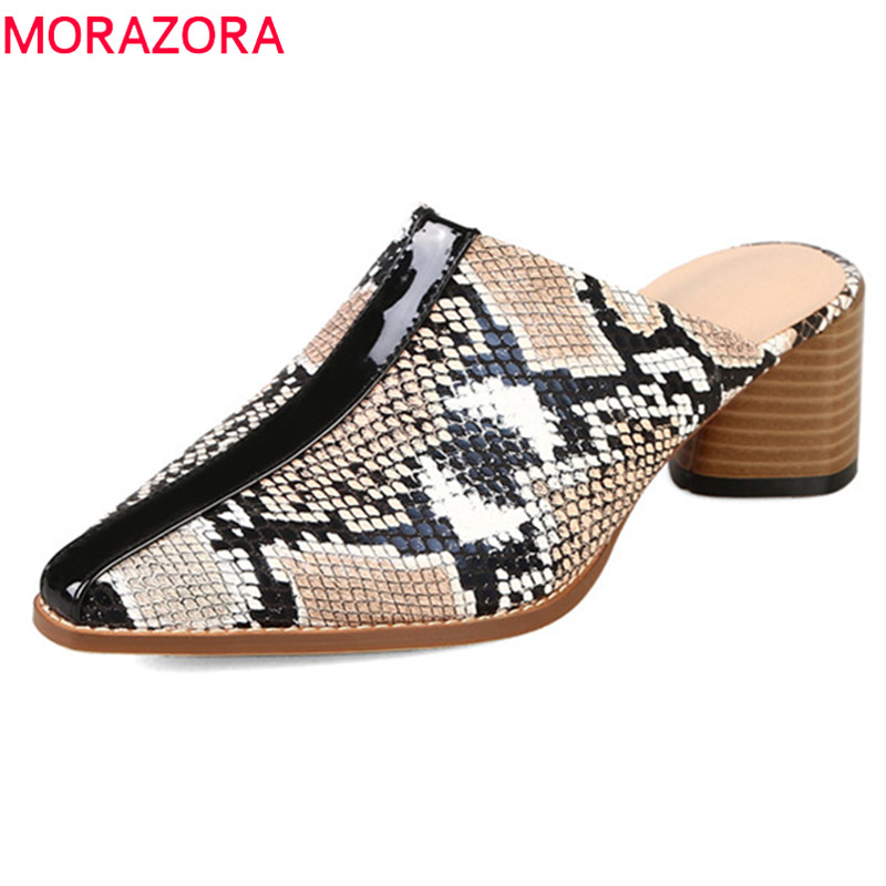 MORAZORA 2019 hot sale women pumps pointed toe summer shoes high heels dress shoes ladies mules