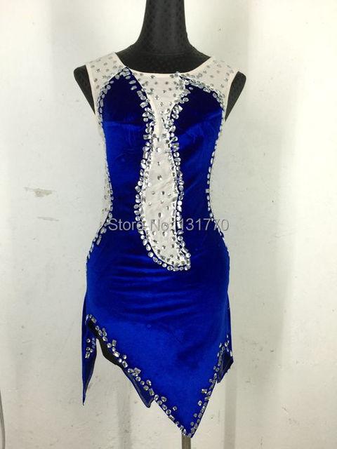 Moda 2015 nuevo estilo rhinestones de acrílico carne sexy fósforo del colorante azul marino personalizado trajes bar dj cantante vestido latino
