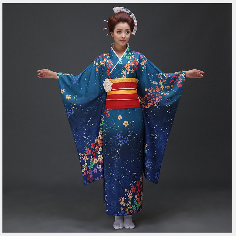High Quality Blue Japanese Women Kimono Dress Traditional Yukata With Obi Novelty Lady Evening Dress Flower