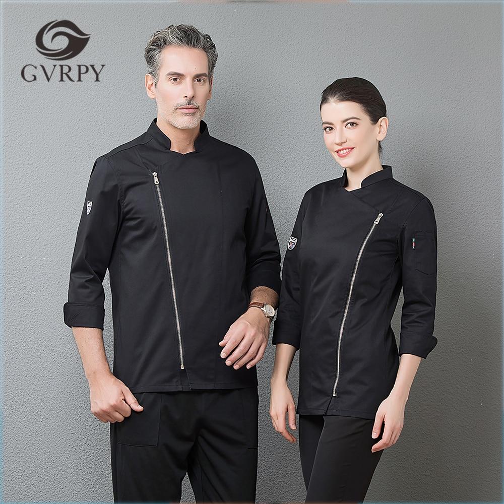 2018 New Zipper Chef Long Sleeve Jackets Professional Top Restaurant Hotel Waiter Work Uniforms Cozinha Cocina Catering Cocinero