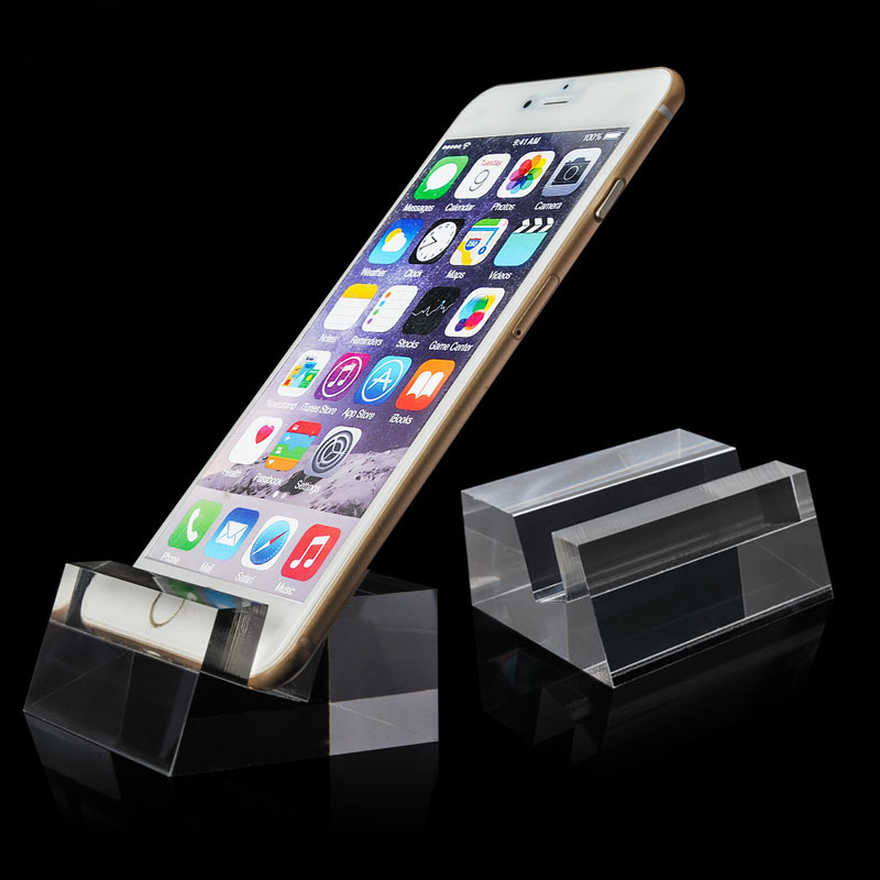 Dual-use crystal clear acylic stable transparent iphone display stand mobile phone holder base for phone shop anti-theft bracket clear color solid acrylic phone retail store price label display holder advertising leader stand for iphone mobile phone shop