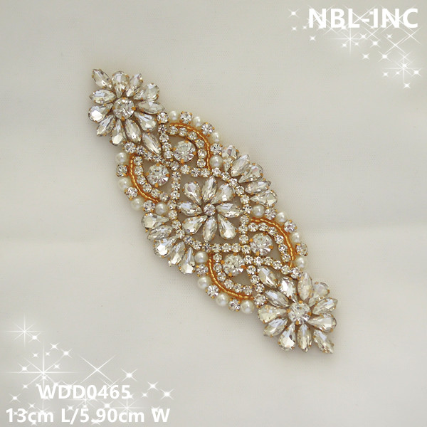(5 PCS) Handmade beaded sewing gold setting clear crystal rhinestone  applique for dresses DIY iron on WDD0465 21f27d6a739a