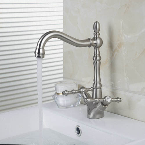ФОТО Double Handles Brushed Nickel Swivel Deck Mounted Tap 8632-4 Single Hole Kitchen Cozinha Torneira Faucets,Mixers & Taps