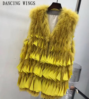 Brand Famous Design Women Knitted Real Fox Fur Vest Chiffon Ruffled Tassel Natural Fox Fur Gilets Sleeveless Warm Winter Coat