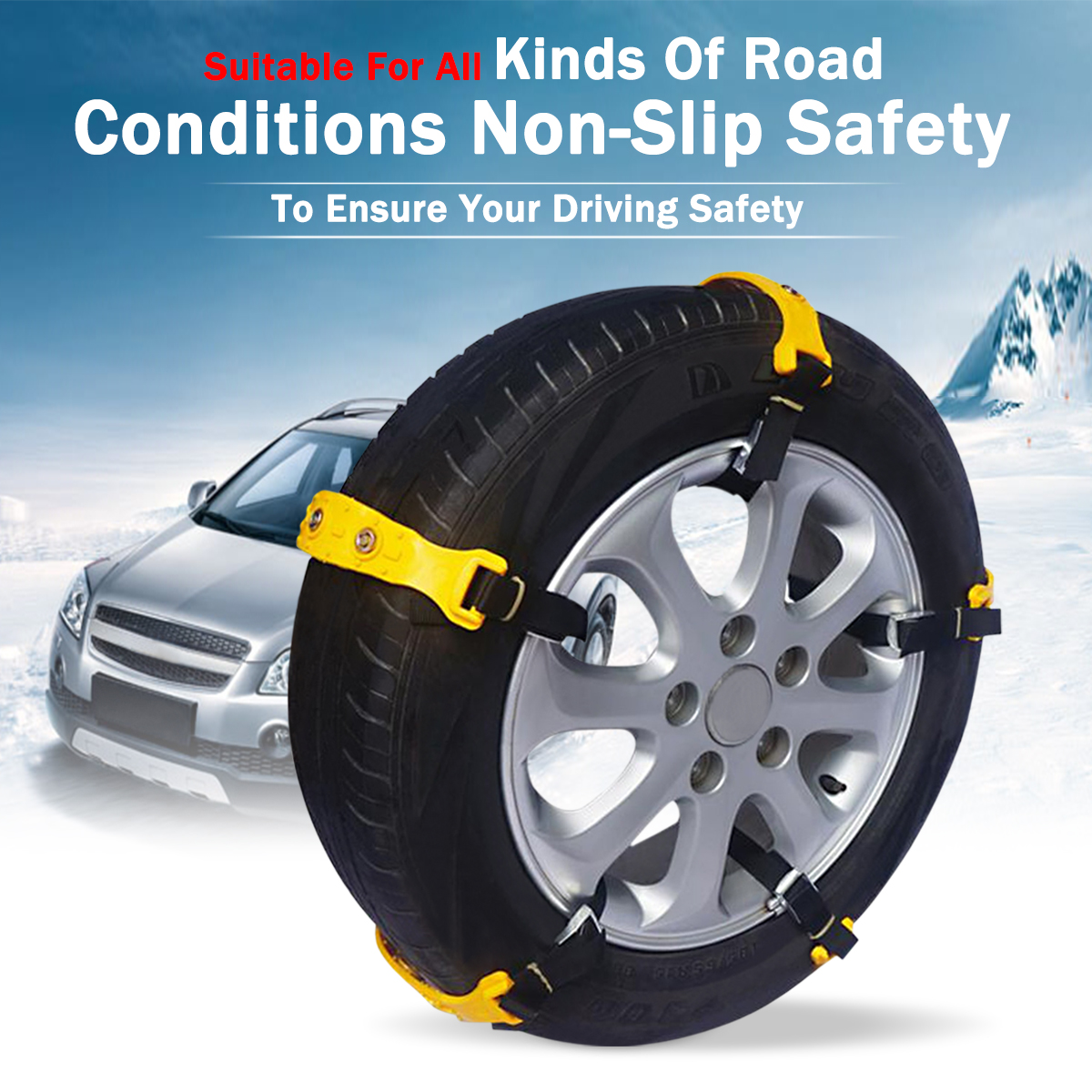10pcs/set Car Yellow Tire Snow Chains Beef Tendon VAN Wheel Tyre Anti-skid TPU Chains 37 x 4.7cm10pcs/set Car Yellow Tire Snow Chains Beef Tendon VAN Wheel Tyre Anti-skid TPU Chains 37 x 4.7cm