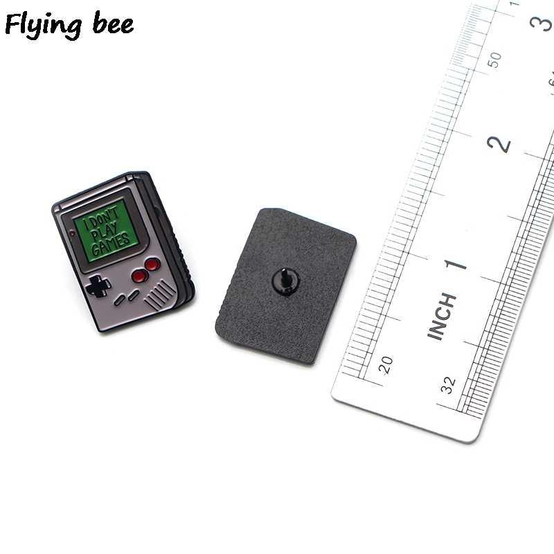 Flyingbee Mesin Permainan Bermain Game Enamel Pin Tas Ransel Lencana Kepribadian Bros Kemeja Kerah Pin X0192
