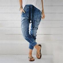 2019 мода приталенные джинсы средней талии прямые брюки зима женщина длинные брюки свободные шаровар