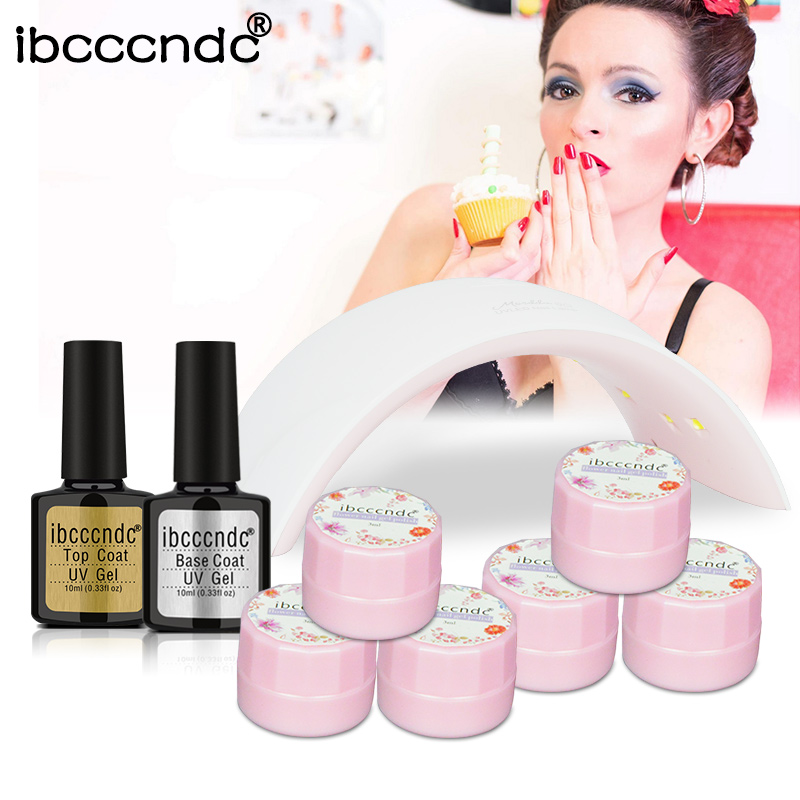 Nail Art Manicure Tools 24W LED Lamp 6 Color Soak Off UV Flower Gel Nail Polish Base Gel Top Coat Polish Primer Varnish Lak Kit simd 196 colors nail gel polish primer gel nail polish led uv gel varnish base top coat nail lacquer gel polish