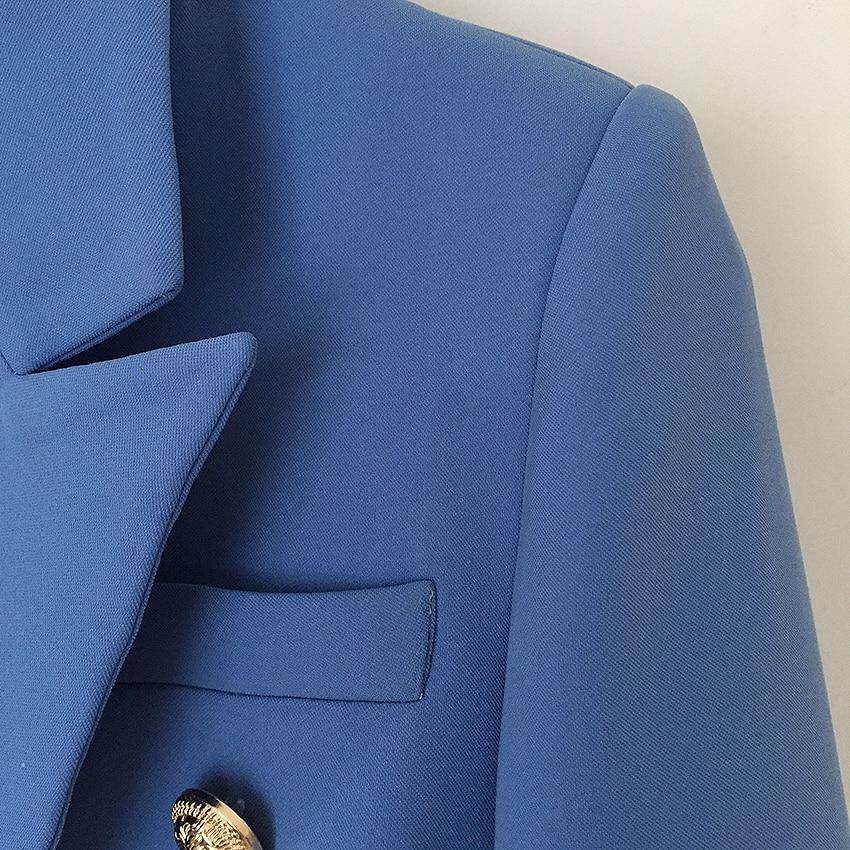 Giacca Metallo Doppio Nuovo Bottoni Progettista Lago Alta Donna Di Qualità Classico Blu Leone Modo Da 2019 Blazer Del Monopetto In 18xw6qp