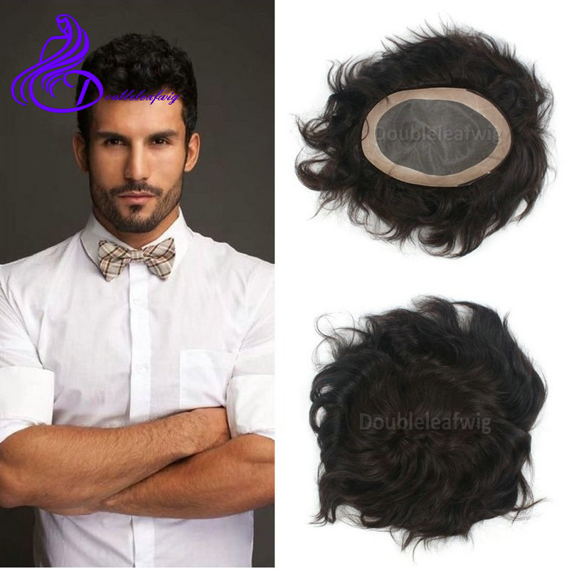 dd685617e Natural toupee for men 6x9 inch short black hair man's toupee swiss lace PU  thin skin hair replacement full lace human hair wigs