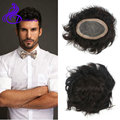 Natural toupee for men 6x9 inch short black hair man's toupee swiss lace PU thin skin hair replacement full lace human hair wigs