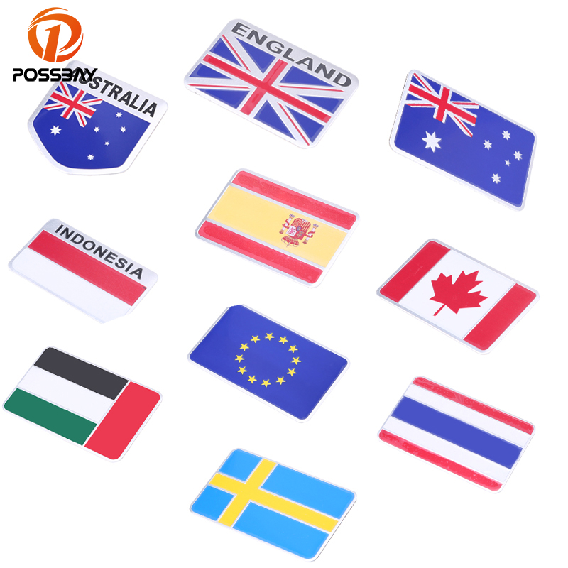 POSSBAY Car Truck Bike Motocross National Flag Emblem Badge Decal Indonesia/Australia/Thailand/Canada Flag Motorcycle Sticker