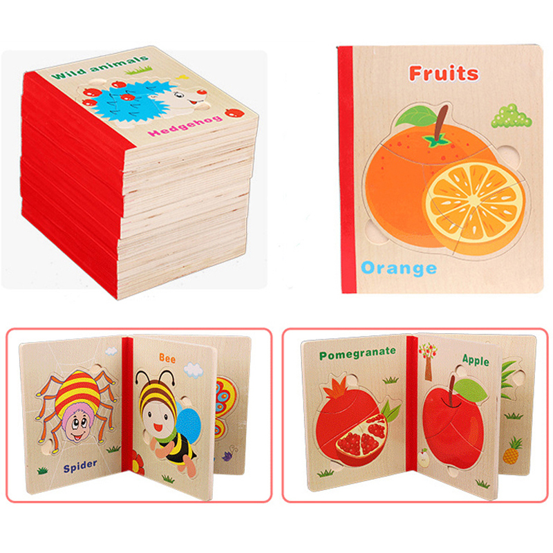 Montessori Toys Educational Wooden Toys for Children Early Learning  3D Cartoon Puzzles Six Pages Intelligence Teaching Aids