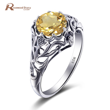 Модные австрийской желтый кристалл Кольца Для женщин очаровательные Обручение Jewelry 925 стерлингового серебра заполнено обещание Кольца свадебный подарок