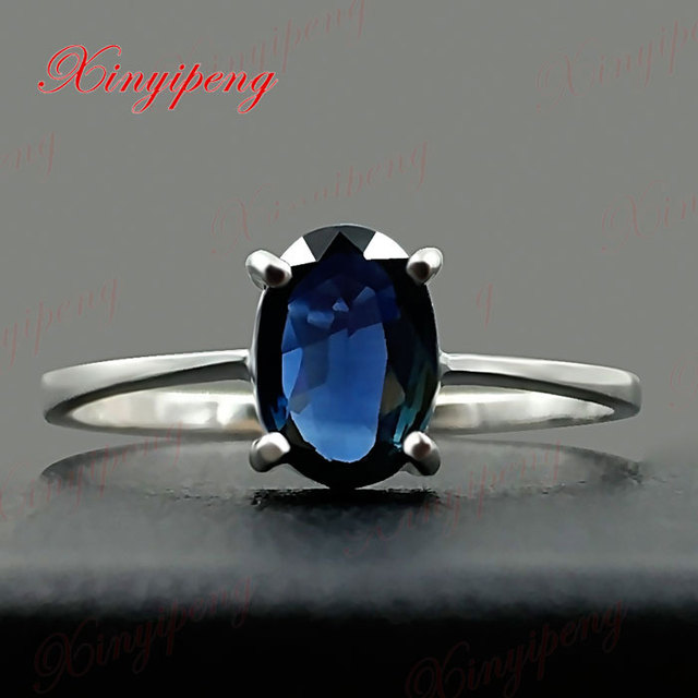 18 k white gold with natural sapphire ring blue men fine jewelry Classic contracted