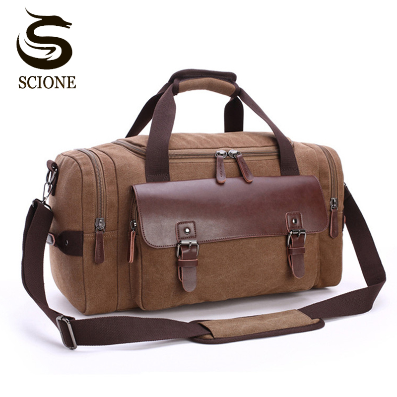 High Quality Men Canvas Travel Luggage Bag Large Capacity Shoulder Handbag Crossbody Travel Duffel Bags Women Duffle Handbag