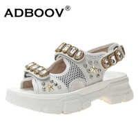 ADBOOV 宝石サンダル女性プラットフォーム夏の靴女性ピープトウスタッズサンダル女性ビーズ Sandalias Mujer