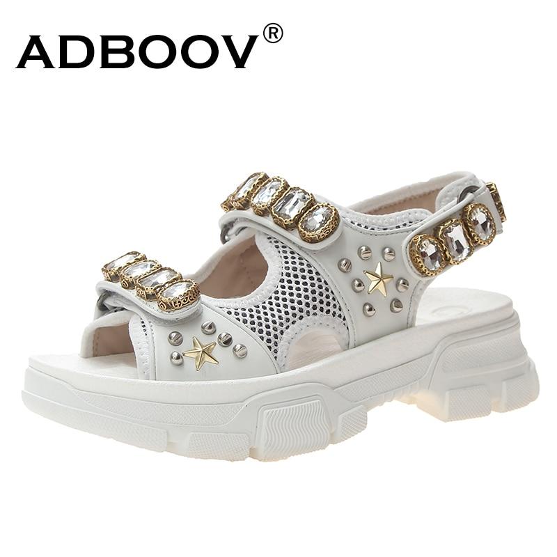 ADBOOV pierres précieuses sandales femmes plate-forme chaussures d'été femme Peep Toe clouté sandales dames perlées Sandalias Mujer