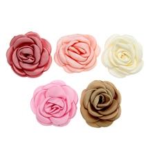 5pcs/lot 5 cm Baby Headbands DIY Hair Accessories Satin Artificial Flower Newborn Headwear Girls Hairclips For First Birthday