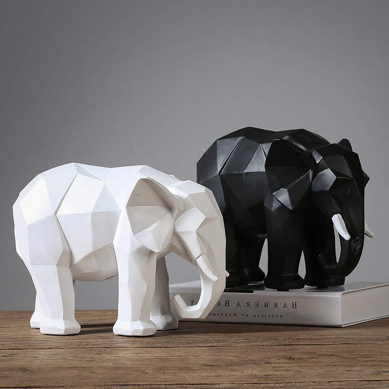 Modern Abstract Elephant Statue Resin Ornament Home Decoration Gifts Black White Lucky Elephant Sculpture Animal Model Crafts