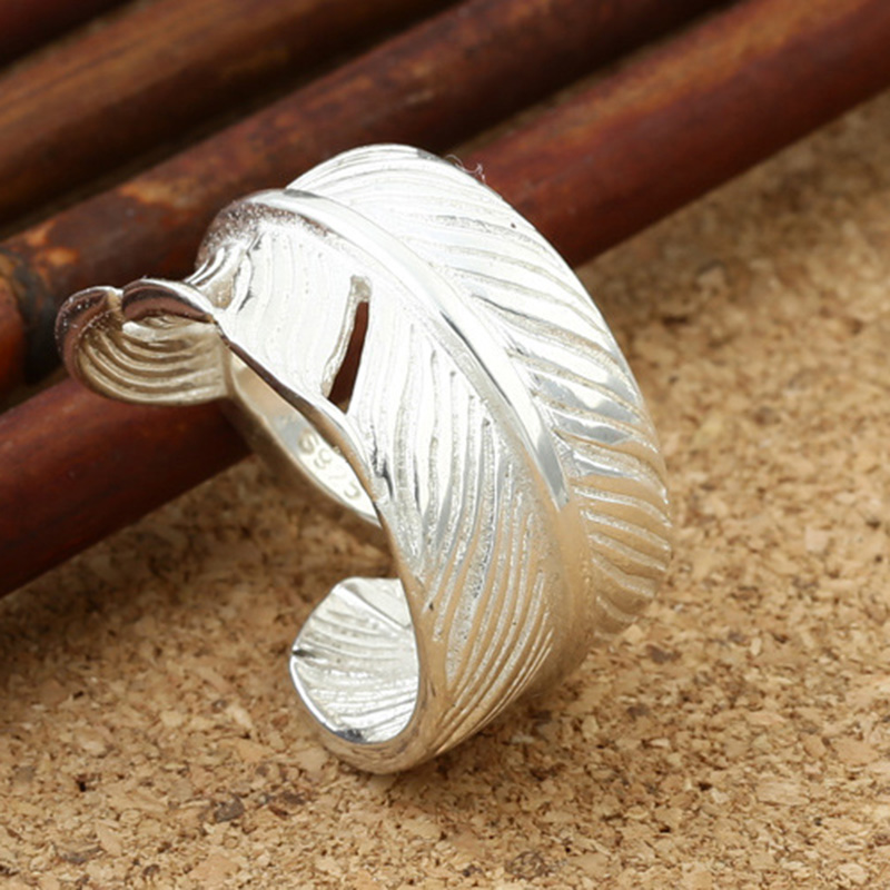 все цены на Goros Ring 925 Sterling Silver Goro's Ring Sacred Silvery White Feather Ring For Women Men Party GQR022