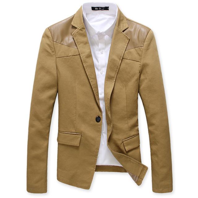 Los hombres de la chaqueta de primavera 2017 de los hombres de un botón traje chaqueta de cuero de LA PU de costura Empalmado chaqueta de color caqui masculino hombres blazer capa ocasional