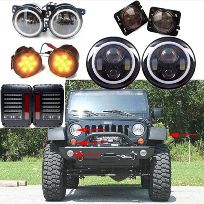 2P 7inch LED Headlight Indicator Turn Light Fog Light taillight for JK Jeep Wrangler