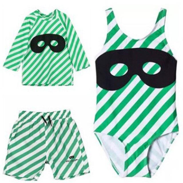 e99ac4836c Kids Swimwear 2019 Summer bobo choses beau loves Boys Girls Green Stripe  Mask Swim Suit Shorts Baby Bathing Suit Beachwear
