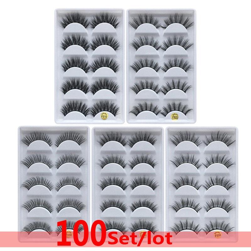 DHL 100 set 100% Real Fake Mink Eyelashes 3D Natural False 3d Lashes Soft Eyelash Extension Makeup Wholesale