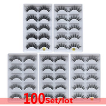 DHL 100 set 100% Real Fake Mink Eyelashes 3D Natural False Eyelashes 3d Mink Lashes Soft Eyelash Extension Makeup Wholesale dhl 100