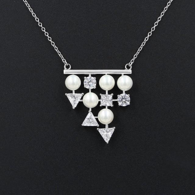 Triangle cubic zirconia shell pearl pendant necklace real 925 triangle cubic zirconia shell pearl pendant necklace real 925 sterling silver women choker wedding gift aloadofball Gallery