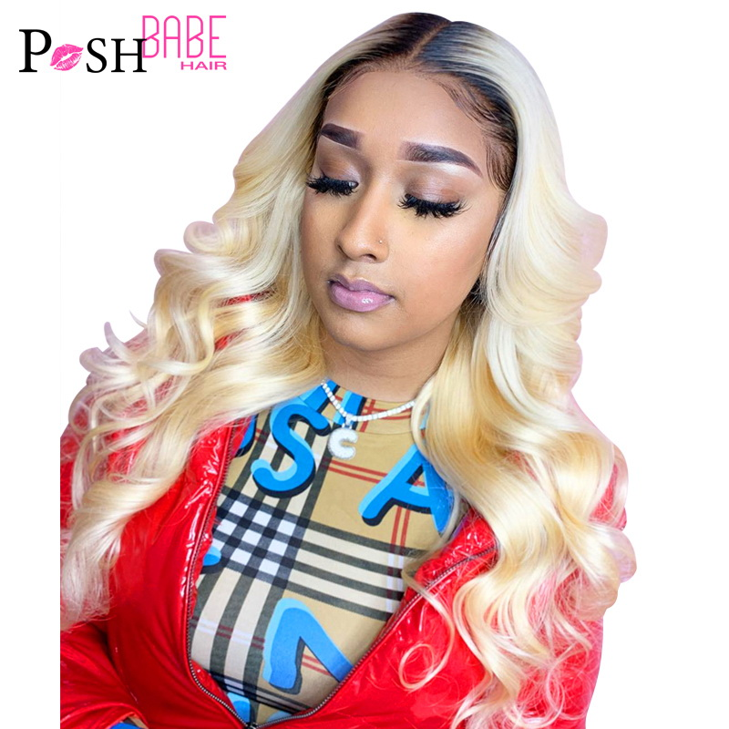 Body Wave Glueless 1B 613 Platinum Blonde Ombre Human Hair Lace Wig 8 - 26 Inch European Russian Blonde 613 Wigs For Black Women