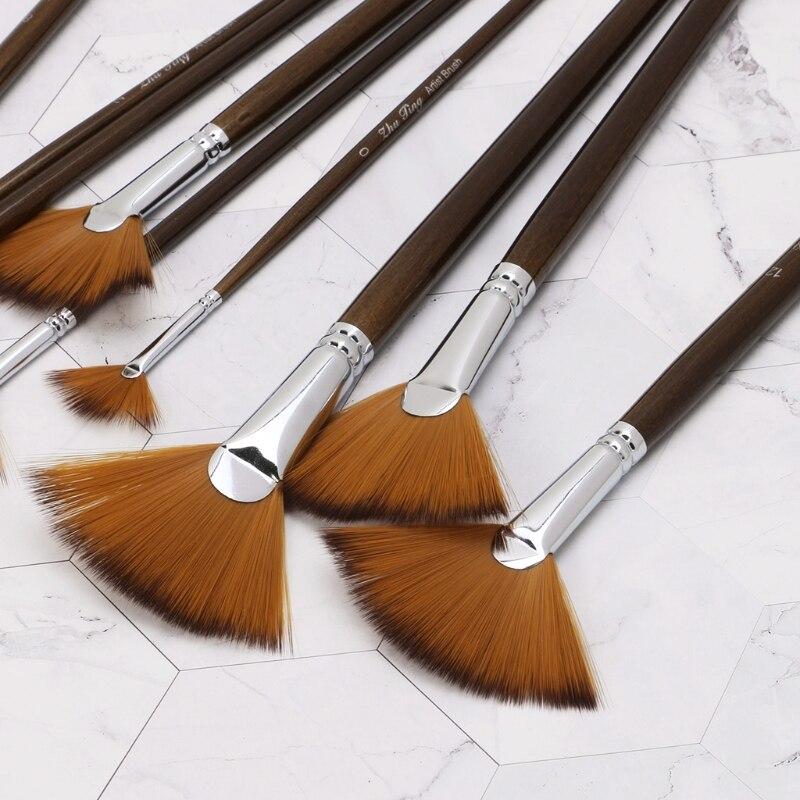 9 pièces Ventilateur Forme peinture au pinceau set de crayons Nylon Cheveux Acrylique Aquarelle Fournitures D'art