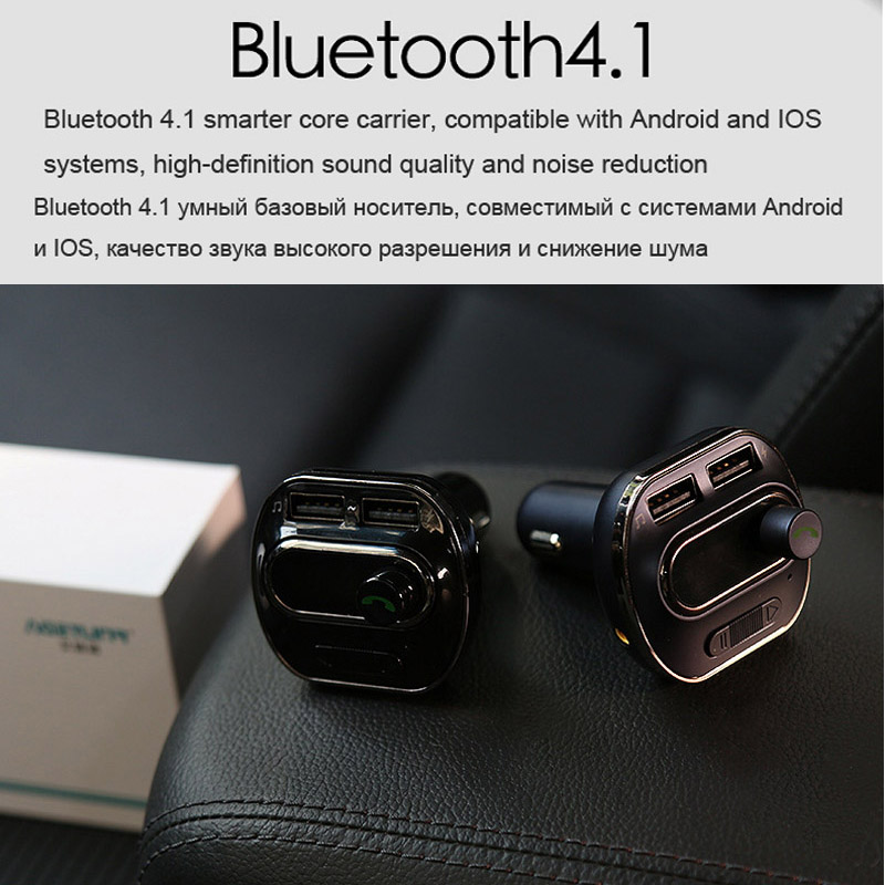 AGETUNR Bluetooth Car Kit Handsfree Set MP3 Player FM Transmitter 2 USB 5V 3.4A Support TF Card & USB Music & AUX Line Out