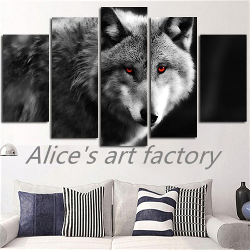 5 Stück Malerei Kalligraphie Red Eyes Wolf Leinwand Poster Bild ...
