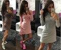 Plus Size Mini Vestido de Las Mujeres Casual Larga Floja Camisas 2017 Primavera de manga larga de turn down collar sexy wome blusa tops delgado vestidos