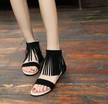 New  2016 summer sandals fashion tassel european style free shipping sexy sandals flat hot scrub woman student shoes