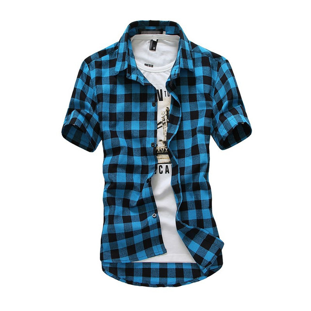 Mens Checkered Shirts Short Sleeve Shirt