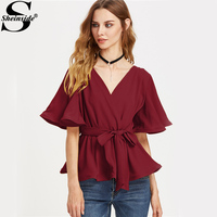 Sheinside Surplice Wrap Tops Elegant Belted Blouse 2017 Flutter Sleeve Women Work Summer Tops Girls Ruffle