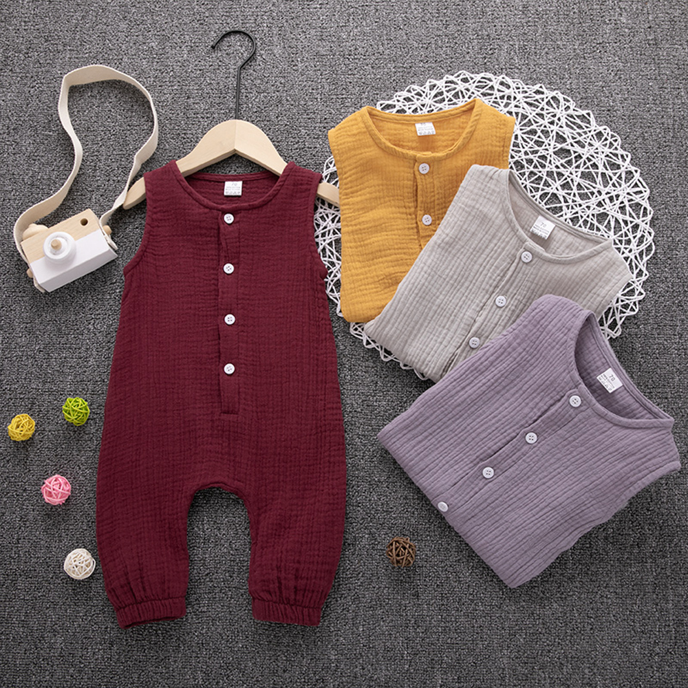 HTB1XQzUNMHqK1RjSZFPq6AwapXa4 2019 Children Summer Clothing Cute Newborn Infant Baby Boy Girl Solid Romper Sleeveless Jumpsuit Outfits Cotton Soft Clothes