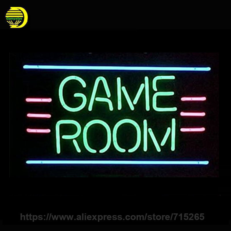 Game Room Neon Sign Decorate Real Glass Tube Cool Neon Bulbs Recreation Room Handcraft Indoor Frame Sign Store Display 17x14