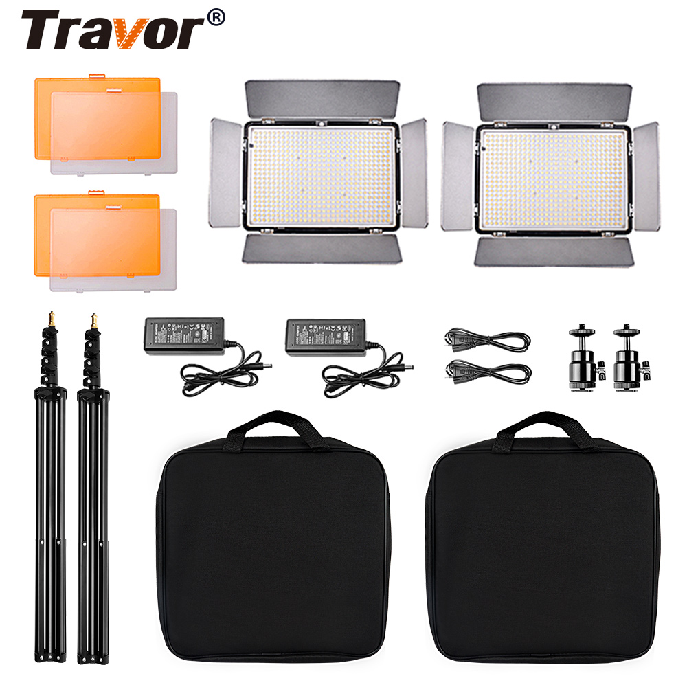 Travor 2 in 1 Portable LED Video Light LED Panel 600 Beads Studio Photography Photographic lighting Kit with Stand High CRI Lamp travor 2 in 1 photography 160 led studio lighting kit dimmable ultra high power panel digital camera dslr camcorder led light